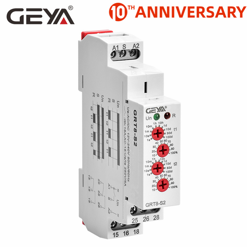 Free Shipping GEYA GRT8-S Asymmetric Cycle Timer Relay SPDT 220V 16A  AC/DC12V-240V Electronic Repeat Relay
