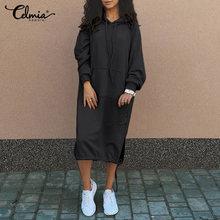5xl celmia inverno hoodies moletom vestido feminino 2021 moda robe manga longa velo vestidos sólidos com capuz cordão 7