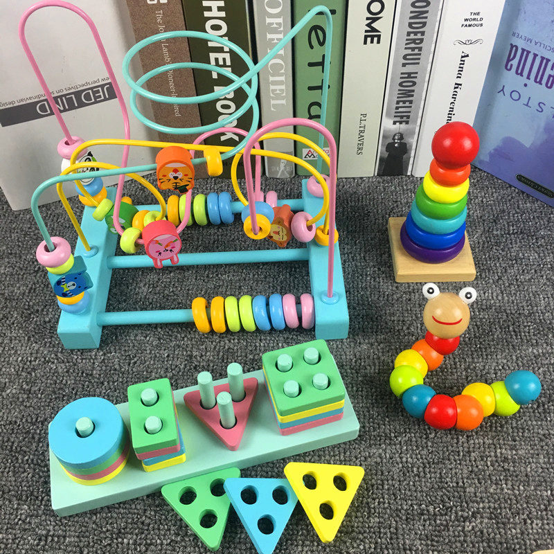 Baby Educational Toy Bead-stringing Toy Men And Women 6-12 Month CHILDREN'S Building Blocks Beaded Bracelet Wooden Toys 1-2-3 A