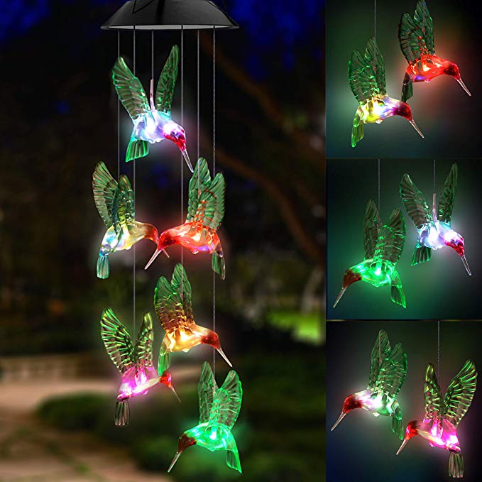 LED Solar Lamp Wind Chime Outdoors Light Changing Color Waterproof Humbird Lamps for Home Party Night Garden Decoration Light