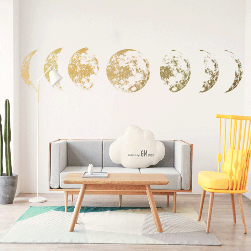 >1PC Gold Moon phase 3D Wall Sticker Mural Art Decal for Bedroom <font><b>Living</b></font> Room Child <font><b>Study</b></font> Home <font><b>Office</b></font> Decor 115*21cm