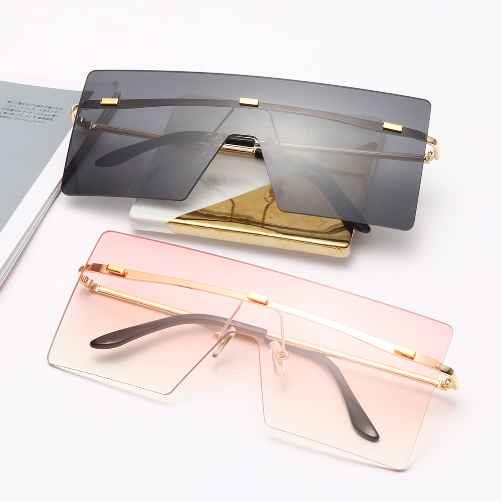 Hot DealsFashion Oversized Sunglasses Women Retro Vintage Metal Sun glasses Luxury Brand Design Rimless Eyewear oculos de sol feminino