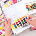 12/18/24/36 cores de Viagem Portátil Conjunto de Tintas de Pigmentos Com Escova Cor Da Água Caneta Aquarela Sólida para A Pintura de Arte Suprimentos