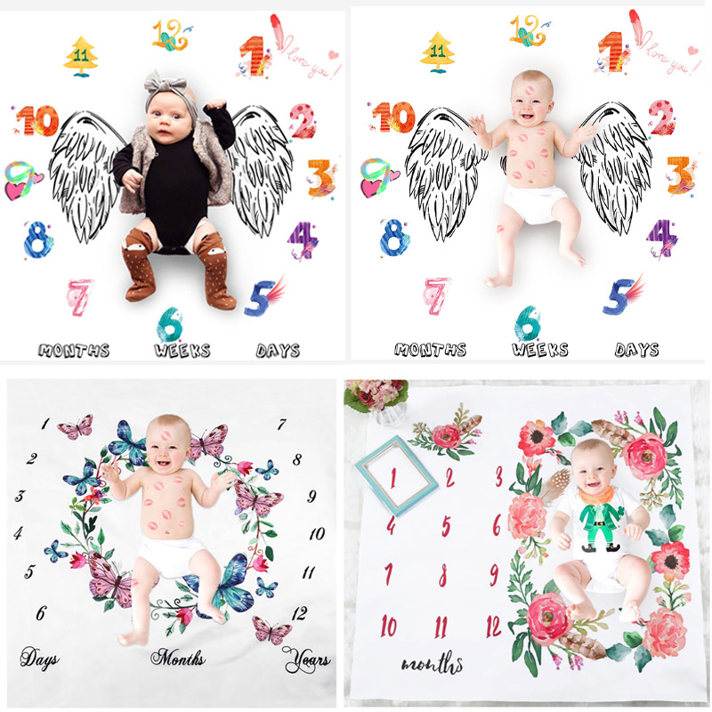 Baby Milestone Blankets Newborn Swaddle Wrap Fashion Bathing Towels Flower Print Soft Blanket DIY Infant Kids Photography Props