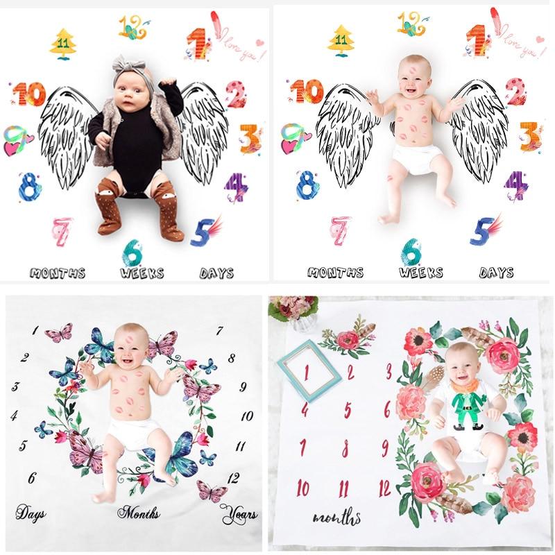 Newborn Baby Milestone Blankets Photography Blanket Bathing Towels Flower Print Soft Blanket DIY Infant Photography Props