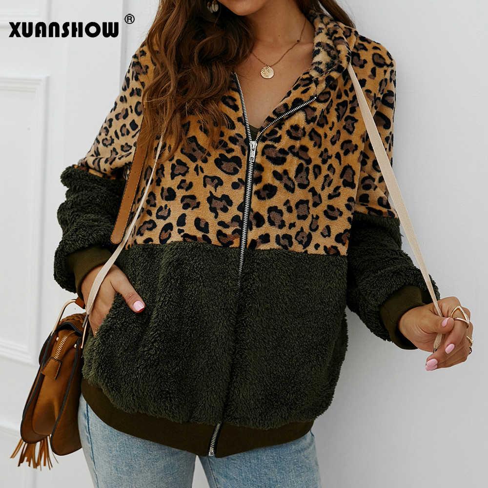 XUANSHOW 2019 nowa moda zima Leopard Patchwork kurtki damskie Faux futro pluszowe uciekają utrzymać ciepłe bluzy na zamek błyskawiczny panie płaszcz
