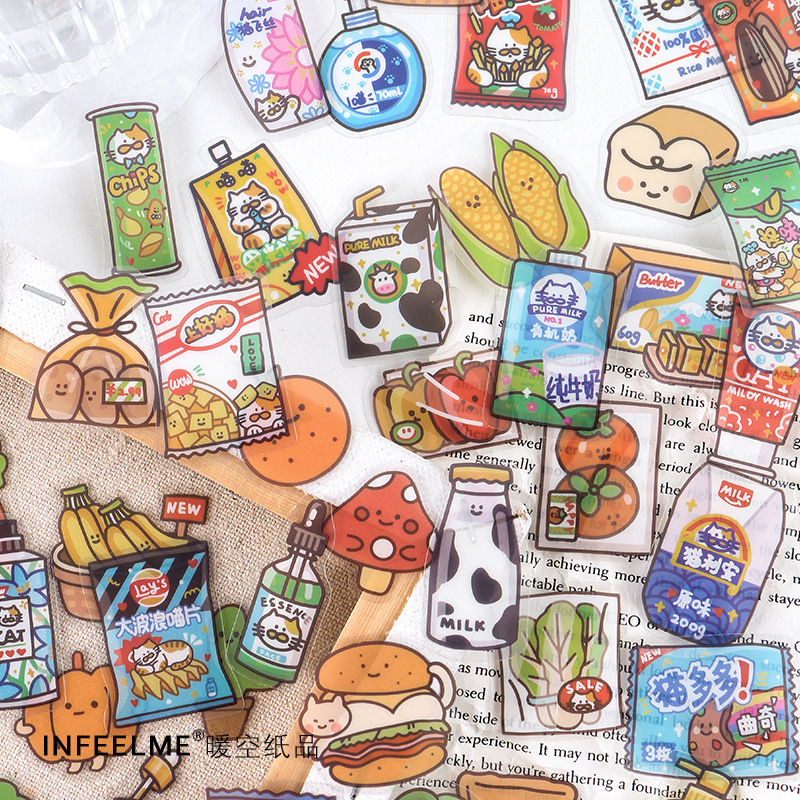 40Sheets/pack Kawaii Cute Milk Fruit PET Stickers Ablum Diary Scrapbooking Label Sticker School Supp