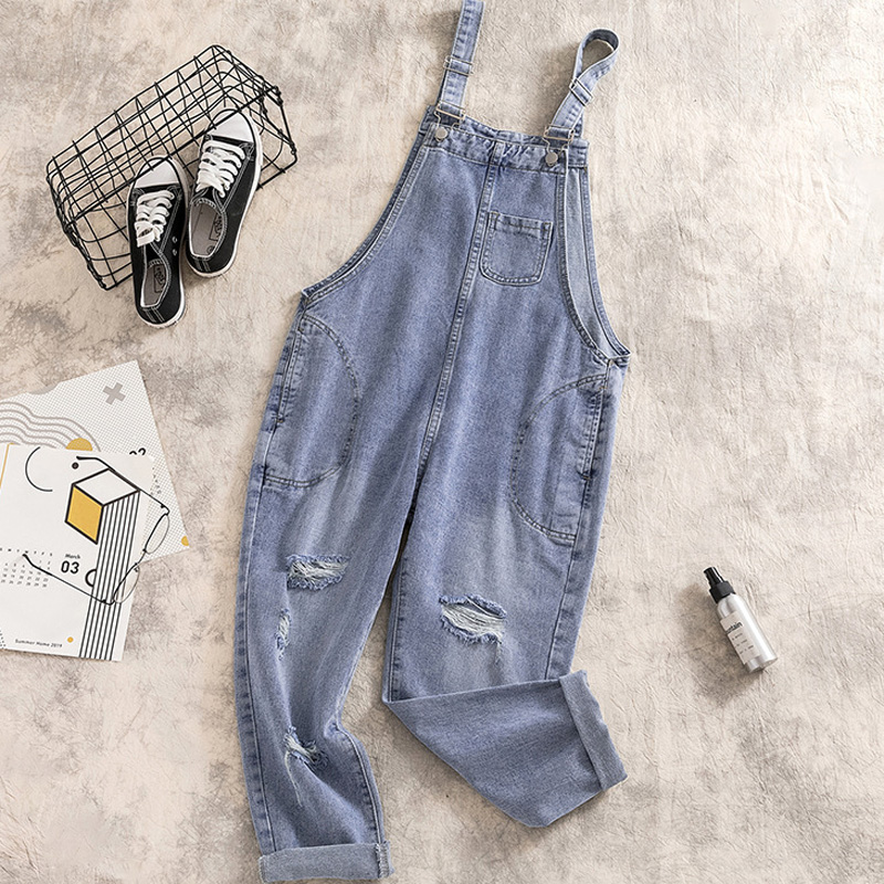 Jeans Woman For Autumn And Winter Denim Bule Overalls Women Plus Size Casual Jean Femme For Streetwear Fat MM Jumpsuit Rompers