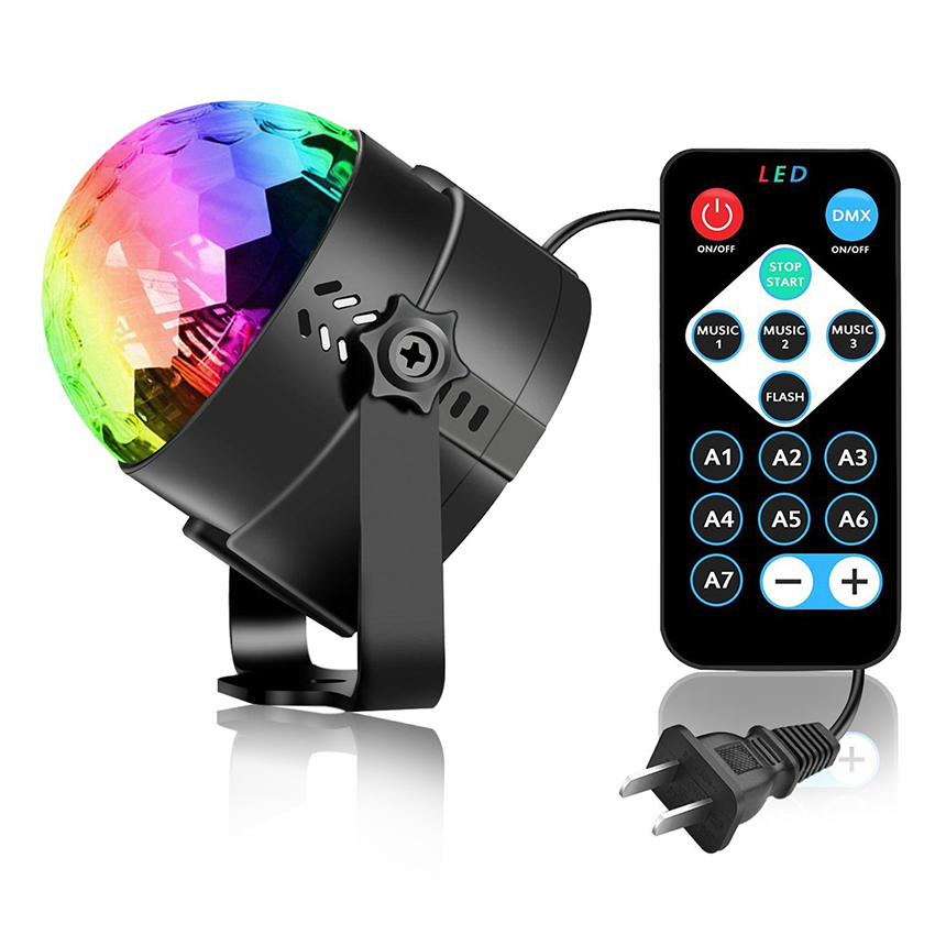 Voice Activated Rotating Disco Ball Party Lights Strobe Light 3W RGB LED Stage Lights For Christmas Home KTV Xmas Wedding Show