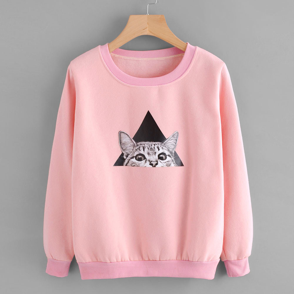 Womens sweatshirt pullovers Ladies Cat Printing pink kawaii Long Sleeve Autumn Sweatshirt Pullover Tops Blouse sudadera mujer