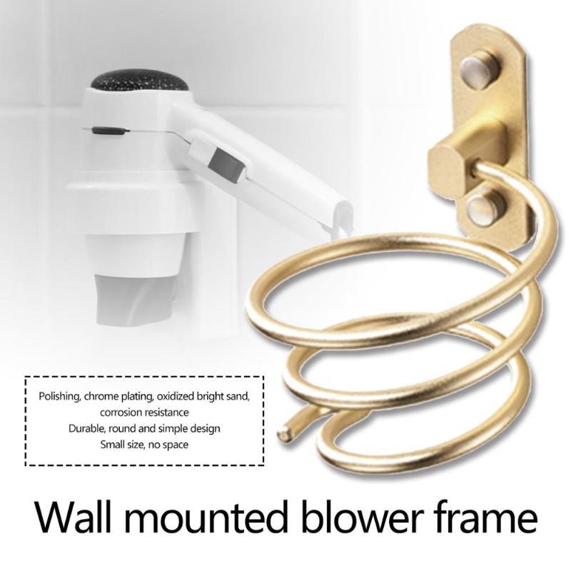 Gold Polished Brass Blower Rack Hair Dryer Holder Storage Bath Organizer Hanger