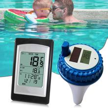 лучшая цена Solar Power Wireless Swimming Pool Thermometer Swim SPA Pond Tub Digital Waterproof LCD Backlight Float Temperature Meter
