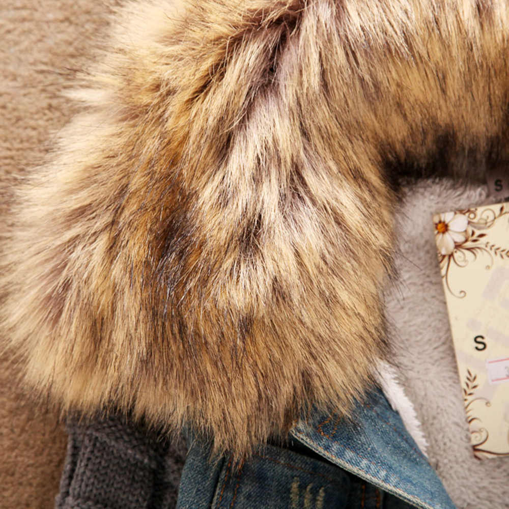 2020 frauen Frühjahr Denim Jacke faux pelz Mantel Casual Kleidung Mantel Tops Weibliche Jeans Mantel