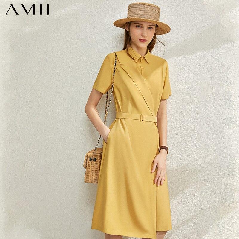 AMII Minimalism Spring Summer Fashion Solid Spliced Women Dress Causal High Waist Lapel Belt Knee-length Female Dress 12030095