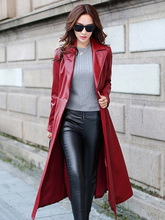 Fall 2019 Trend Womens Leather Trench Coat Raincoat Gothic Plush Ladies Water Repellent Gown Fashion Windproof