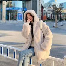 2021 New Winter Women's Furry Thick Coat Fashion Women's Loose Fashion Thick Coat Solid Color Women's Winter Wool Coat