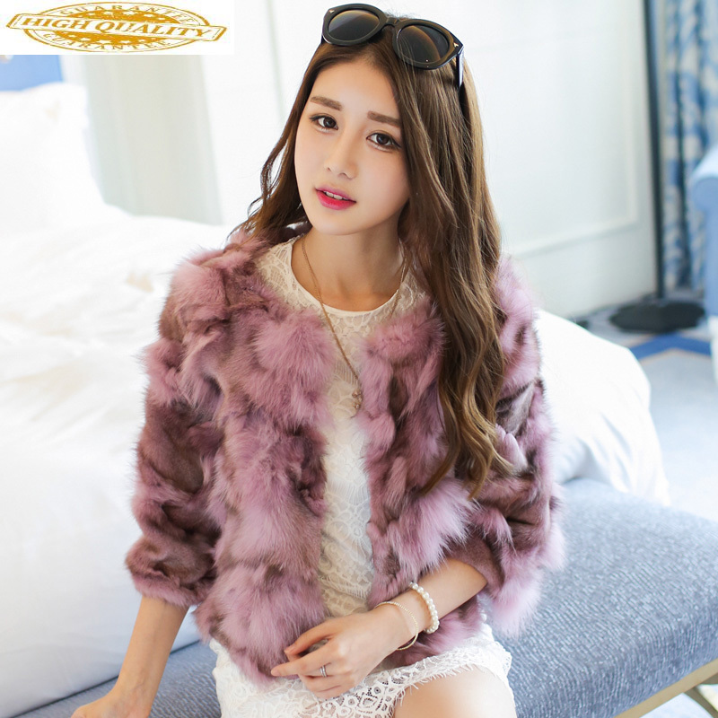 Short Real Fur Coat Female Autumn Winter Fox Fur Coat Women Clothes 2019 Korean Pink Fur Coats Abrigo Mujer KJ1047