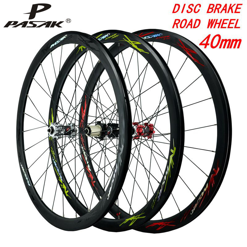 700C disc brake bicycles <font><b>wheel</b></font> road bike wheeles alloy 40mm Clincher <font><b>6</b></font>-bolt lock hub 9mmQR100/135 Aluminum RIM draw the <font><b>spokes</b></font> image
