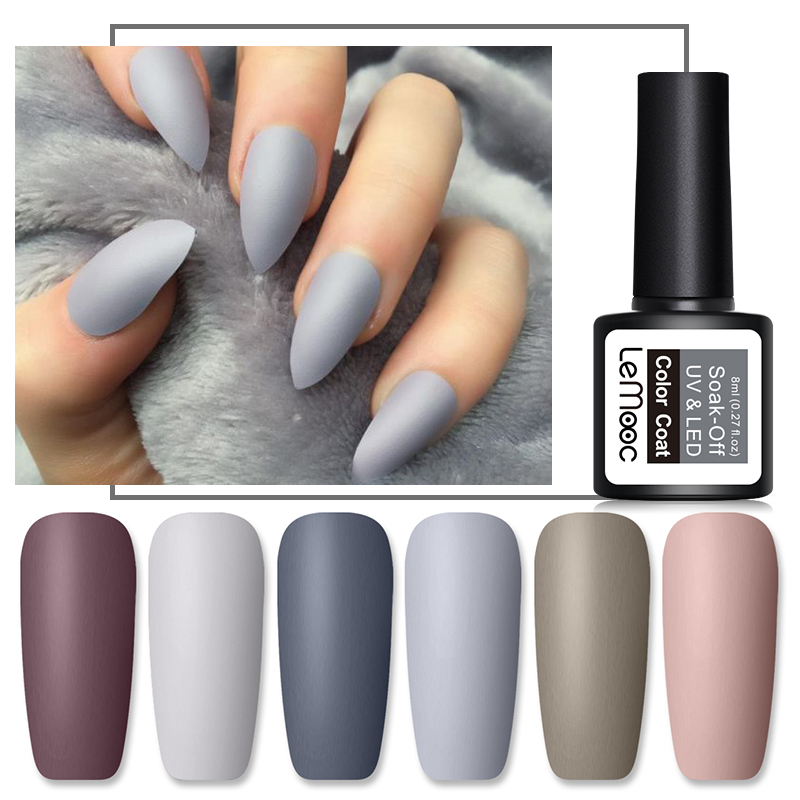 LEMOOC 8ml Matte Top Coat Warna UV Gel Cat Kuku Gray Series Semi Permanen Rendam Off UV Gel Varnish DIY Nail Art Gel Cat