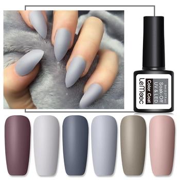 LEMOOC 8ml Matte Top Coat Color UV Gel Nail Polish Gray Series Semi Permanent Soak Off UV Gel Varnish DIY Nail Art Gel Paint недорого