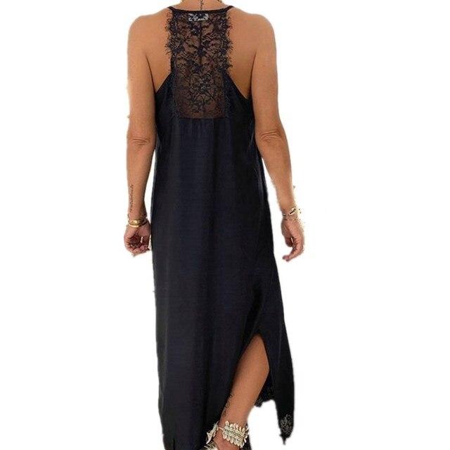 Sexy Black Lace Patchwork Strap Maxi Dress V Neck Sleeveless Side Split Women Summer Dresses Casual Beach Dress Loose Robe Femme 3
