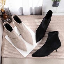 Woman Boots 2019 Slip On Booites Winter Solid Flock Small Med Heels 3.5cm Pointed Toe Ankle Rubber Sexy Dress Boots Plus Size(China)