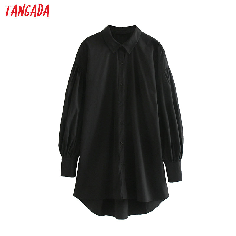 Tangada Women Oversize Long Black Blouse Vintage Long Sleeve Boy Friend Style Casual Shirts Stylish Tops Blusas JE77