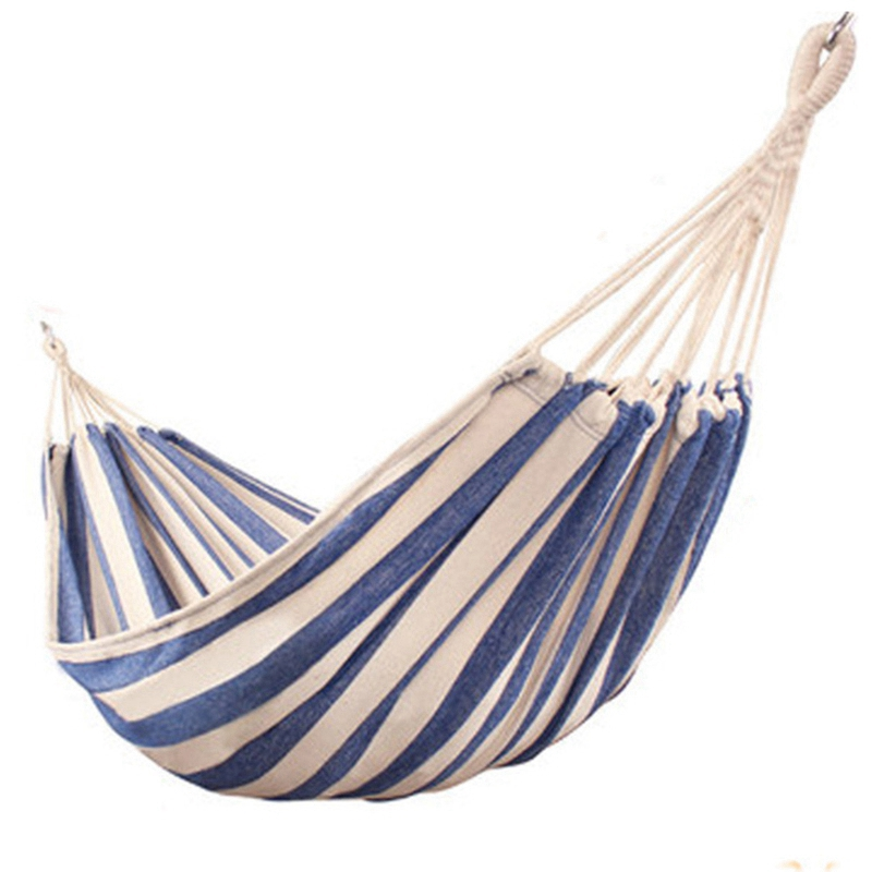 New Stripe Style Thicken Canvas Hammock Swing Outdoor Single Double People Dormitory Camping Leisure Hammocks With Storage Bag