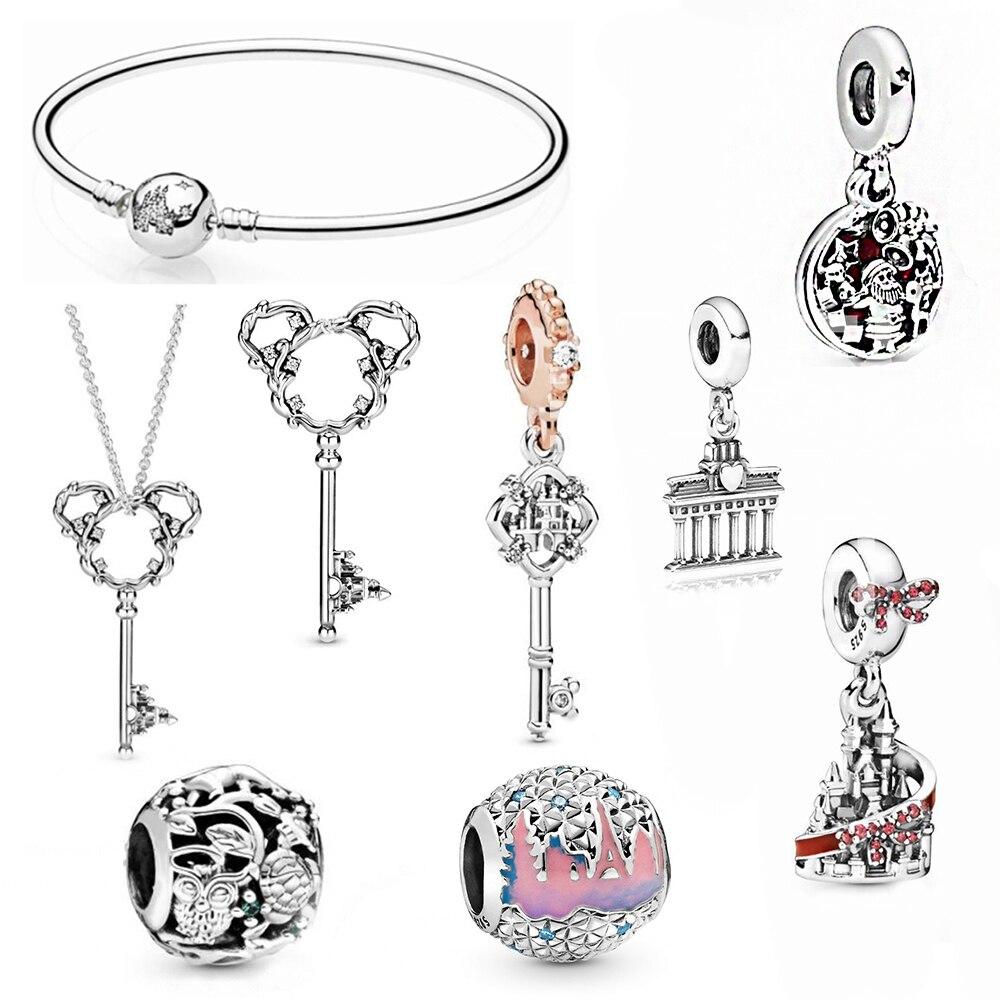 MULIER New 100% S925 Sterling Silver Animal Kingdom Beads Berlin Brandenburg Door Ornaments Small Pendant Fashion Ladies Jewelry
