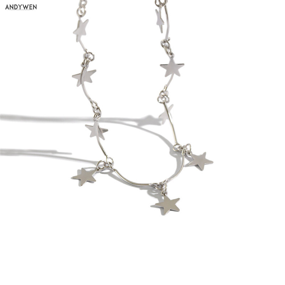 ANDYWEN 925 Sterling Silver Star Charm Pendant Choker Necklace long Chain Special Women Rock Punk Jewelry For 2020 Rock Punk
