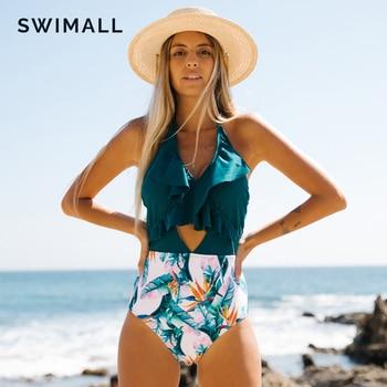 2020 New Sexy V-neck Ruffle Swimwear Women One Piece Swimsuit Female Print Monokini Bodysuit Hollow Out Bathing Suit Beach Wear 1