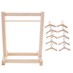 DIY Assembled Wooden Clothes Hanging Shelf and 10 Pieces Clothes Hook Hanger for 12inch Neo  Blythe Dolls