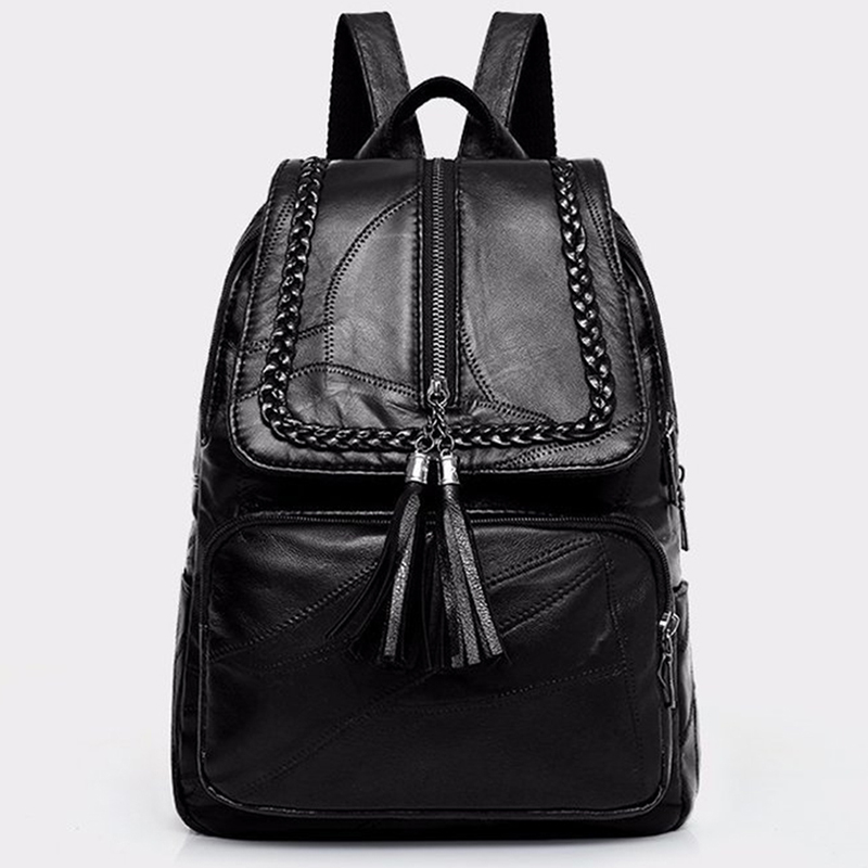 2020 Women's Genuine Leather Backpack School Bag Classic Black Waterproof Travel Multi-function Shoulder Bag