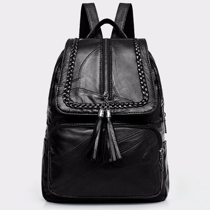 2020 Women's Genuine Leather Backpack School Bag Classic Black Waterproof Travel Multi-function Shoulder Bag