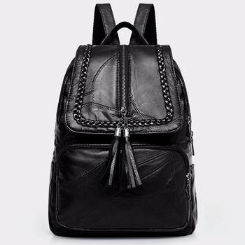 2020 damski plecak ze skóry naturalnej plecak szkolny klasyczna czarna wodoodporna torba podróżna wielofunkcyjna na ramię tanie i dobre opinie Prawdziwej skóry Kożuch Tłoczenie WOMEN Miękka Poniżej 20 litr Wnętrze slot kieszeń Kieszeń na telefon komórkowy