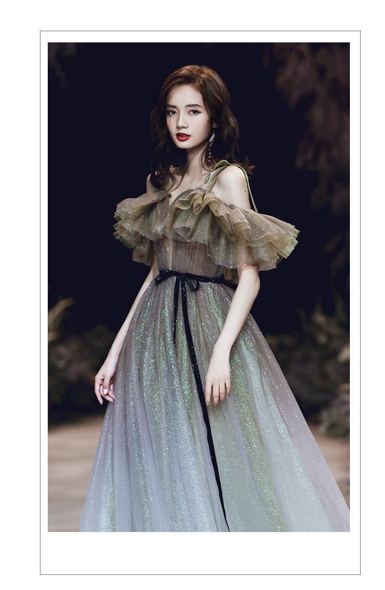 Marrom-azul gradientes de fadas cheongsam sexy babados