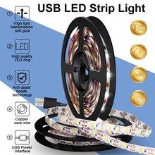 USB светодиод свет полоса 5 В гибкий лампа лента 2835 светодиод лента 0,5 м 1 м 2 м 3 м 4 м 5 м ТВ подсветка для спальни стены украшения освещение