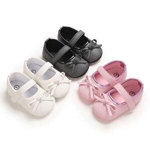 Милая обувь принцессы из искусственной кожи с бантом для маленьких девочек; Нескользящая обувь с мягкой подошвой; Детская обувь, благоприят...