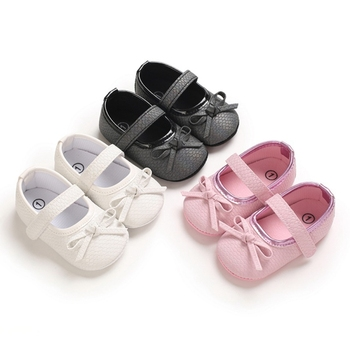 Lovely Baby Girls Bow PU Princess Shoes Non-slip Soft Bottom Step Front Shoes Skin-friendly Children Shoes 0-18M image