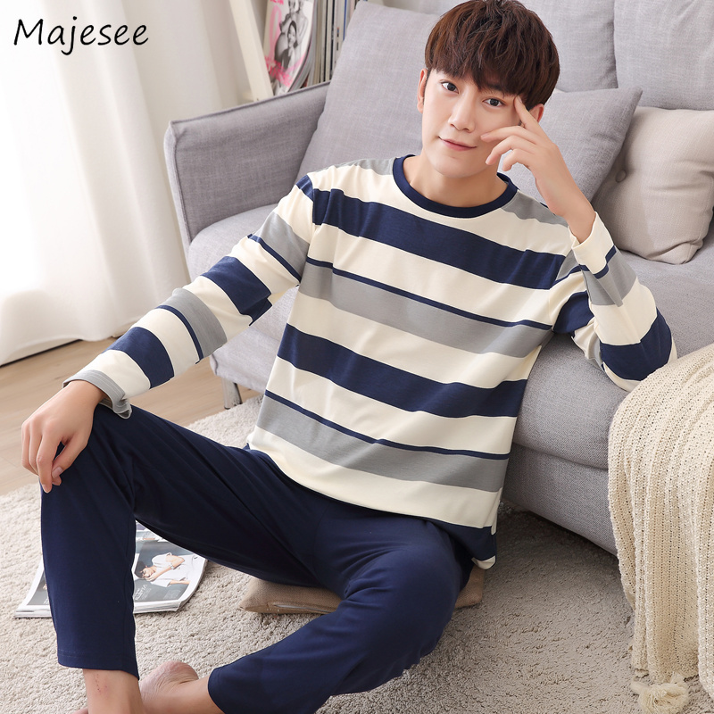 Pajama Sets Men O-neck Striped Plus Size Spring Autumn New Fashion Mens Pajamas Long Sleeve Ulzzang Comfortable Simple Casual