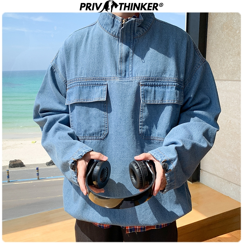 Privathinker Men's Autumn Streetwear Jean Jacket Men Hip Hop 2020 Denim Jacket Male Pockets Jackets Casual Fashion 5XL Clothes