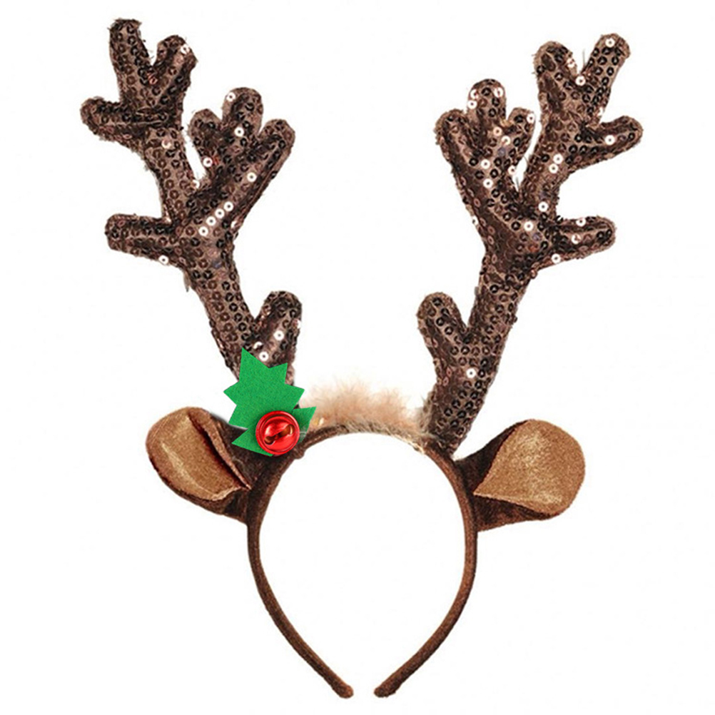Headband Cosplay Antlers Christmas Deer Ears Headband Merry Christmas Ornaments Sequin Reindeer Antler Headband Novelty