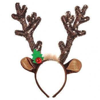 Headband Cosplay Antlers Christmas Deer Ears Headband Merry Christmas Ornaments Sequin Reindeer Antler Headband Novelty