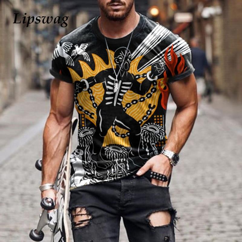 Maglietta a maniche corte Casual stampata a cartoni animati retrò moda uomo 2021 estate girocollo Pullover top T-Shirt maschile taglie forti Streetwear