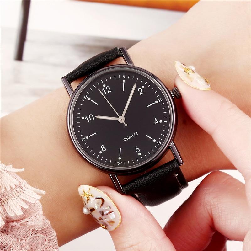 Women's Watches Luminous Fashion Leather Band Simple Digital Quartz Watch For Women Female Clock Montre Femme Relogios Femininos