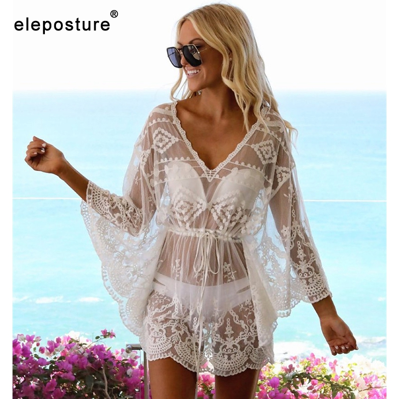 2020 Sexy Mesh Beach Cover Up Lace Beach Dress Women Bikini Swimsuit Cover-Up Long Sleeve Beach Tunics Bathing Suits Cover-Ups