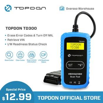 TOPDON TD300 OBD2 Máy Quét Công Cụ Chẩn Đoán Xe Lấy Mã Ô Tô Autoscan OBDII cho DIYers PK AL301 MS300