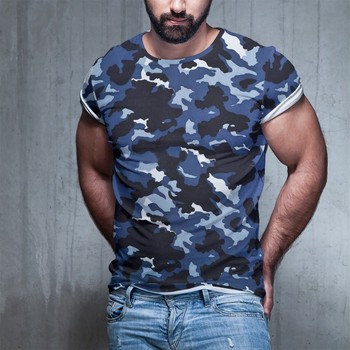 Summer New T-shirt Camouflage European And American 3d Tshirt Multicolor Mini Printed Men Large