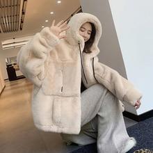 Fur Coat Jacket Short Hooded Inter Faux-Rabbit-Fur Plus-Size New Zip Thick Loose