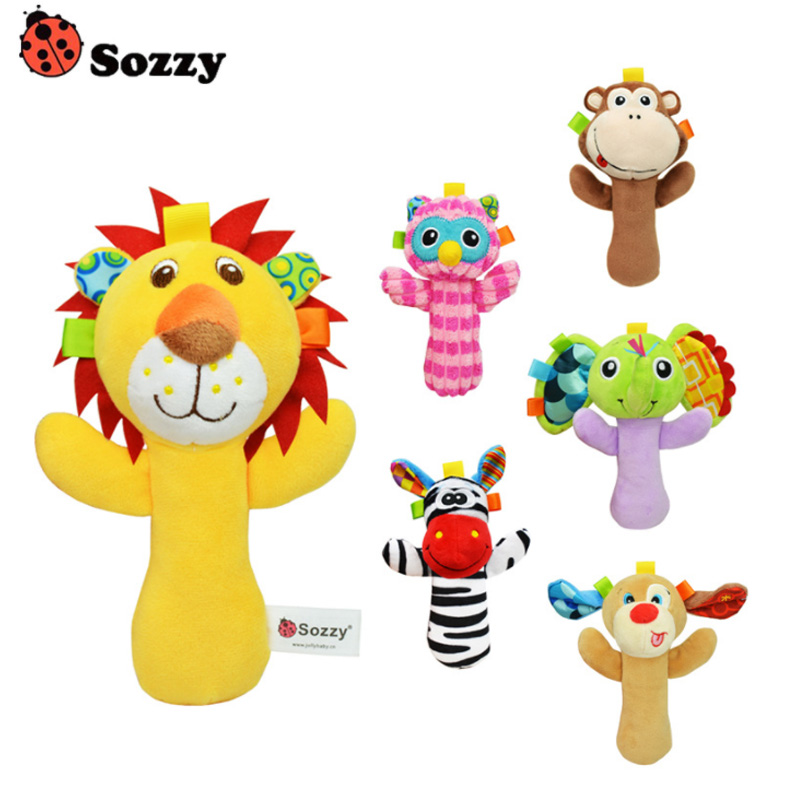 Sozzy Cute Cartoon Animal Musical Baby Rattle Plush Infant Baby Toys Baby Rattle Cute Toy For Newborn Baby Infant